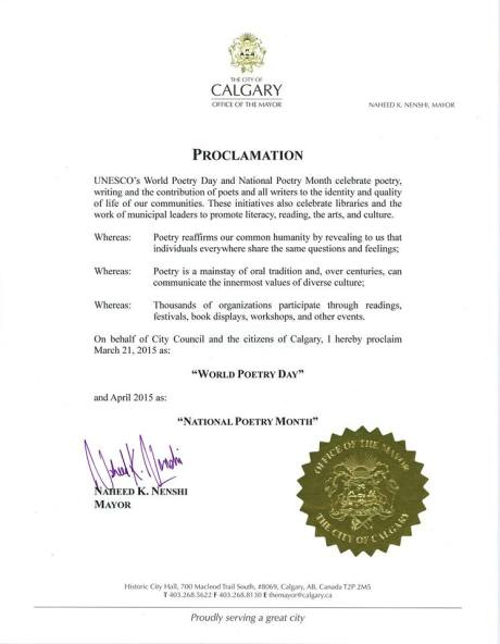 The Mayor's proclamation of National Poetry Month