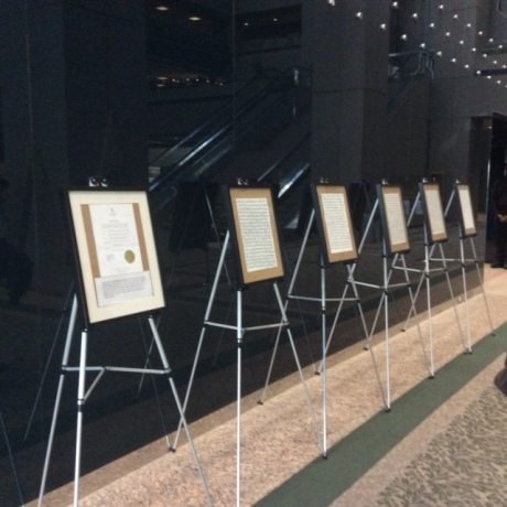 """Every word"" framed at Calgary's city hall"